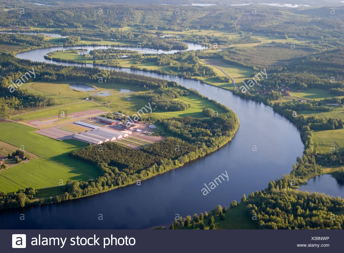 A river, aerial view, Sweden. - Stock Image