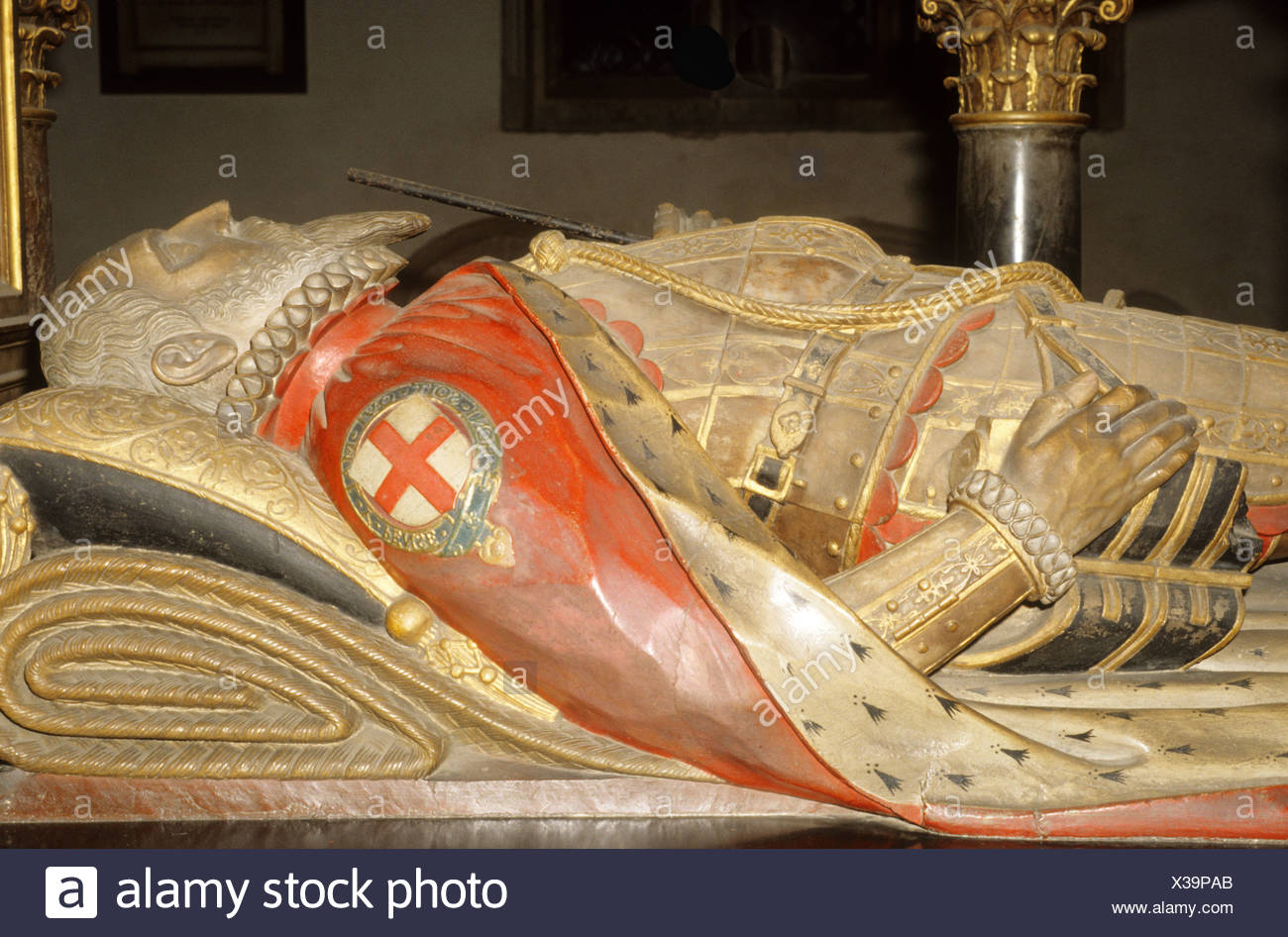Stamford Lincolnshire Effigy Tomb 1st Lord Burghley St Martins Church - Stock Image