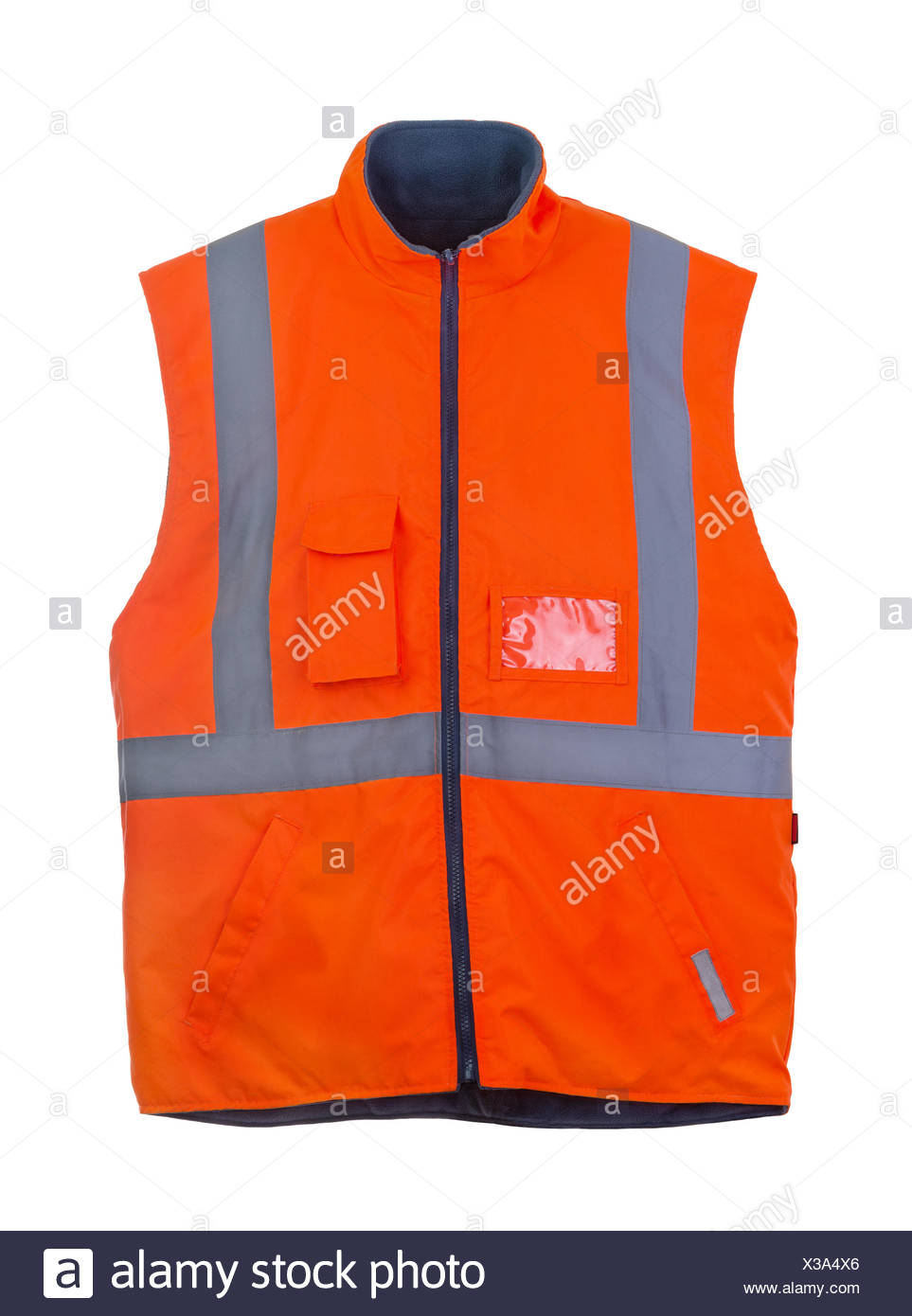 Safety orange vest - Stock Image