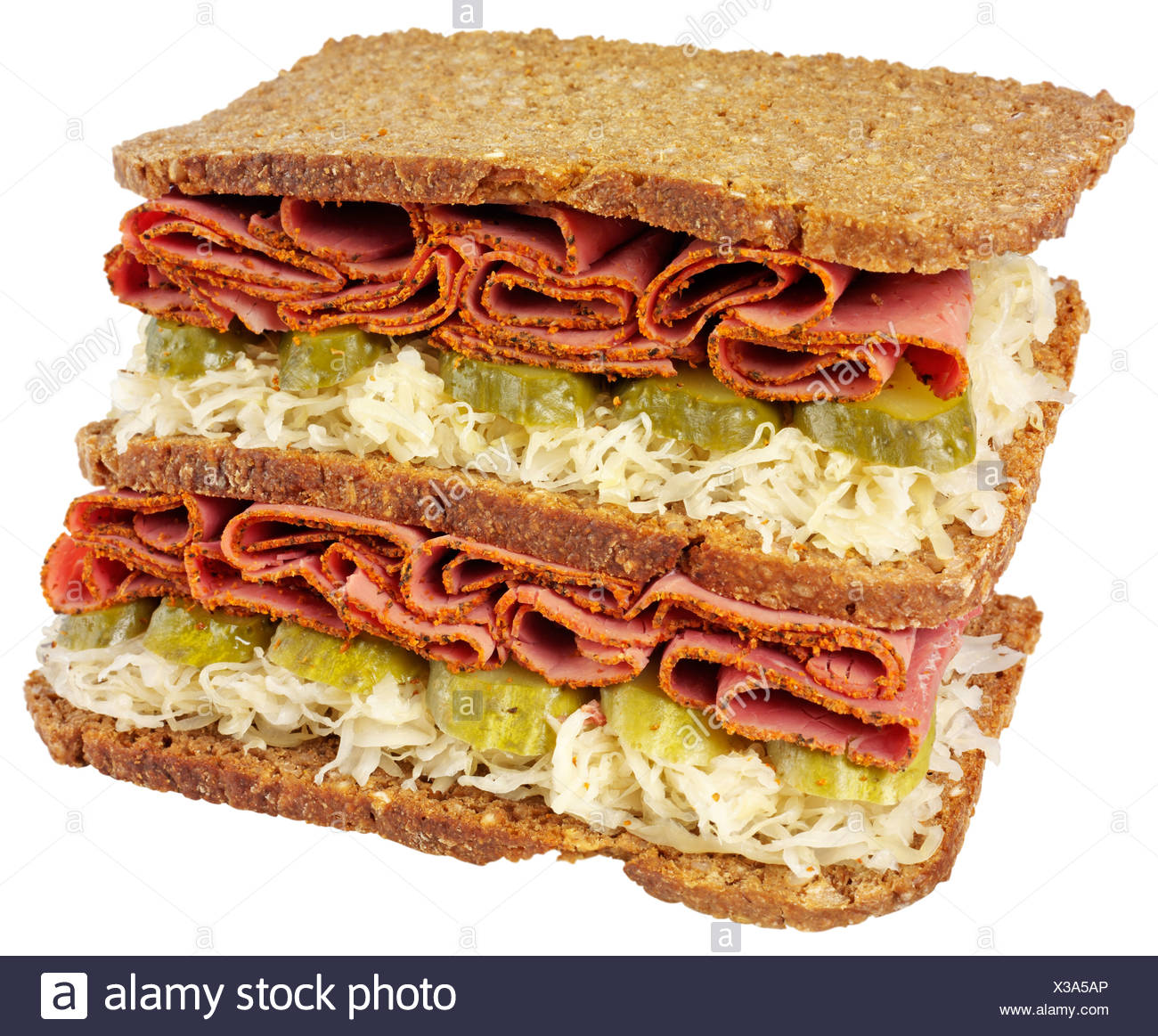 PASTRAMI SANDWICH ON RYE,CUT OUT - Stock Image