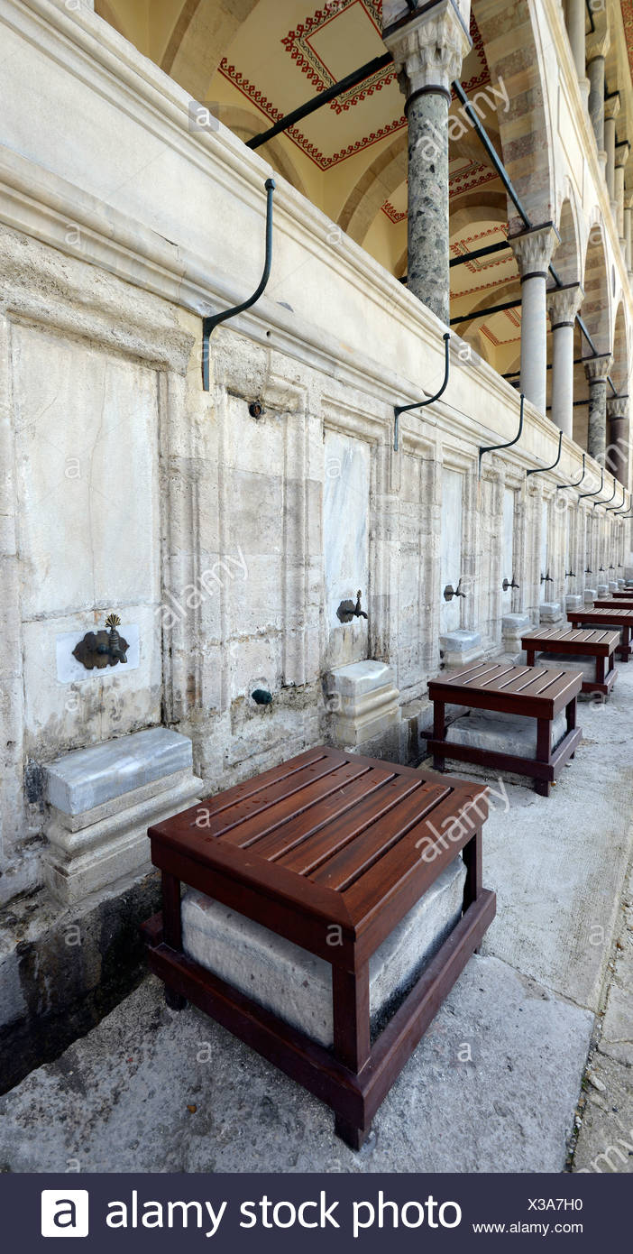 Wells for ritual purification of the feet, Sueleymaniye Mosque, is considered the most beautiful mosque of Istanbul, Istanbul - Stock Image