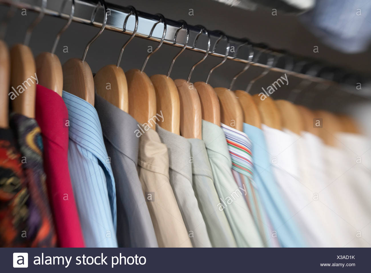 Close Up Of Menu0027s Dress Shirts Hanging In Closet   Stock Image