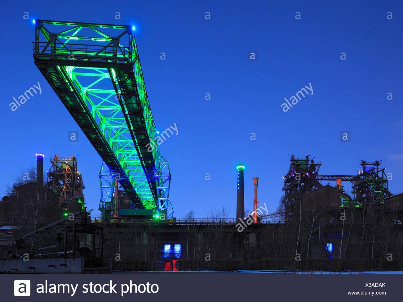 Germany, Europe, North Rhine-Westphalia, Duisburg, Meiderich, route of industrial culture, Emscherpark, lights, illumination, Jo - Stock Image