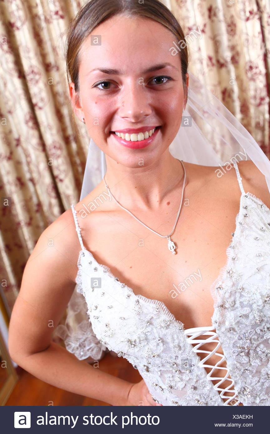 excited young blond bride Stock Photo