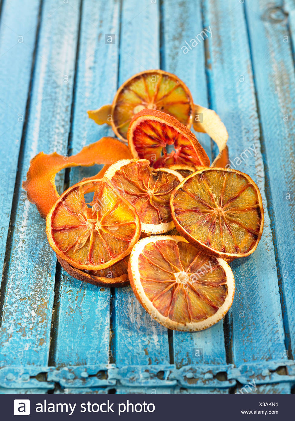 Dried slices of blood oranges - Stock Image