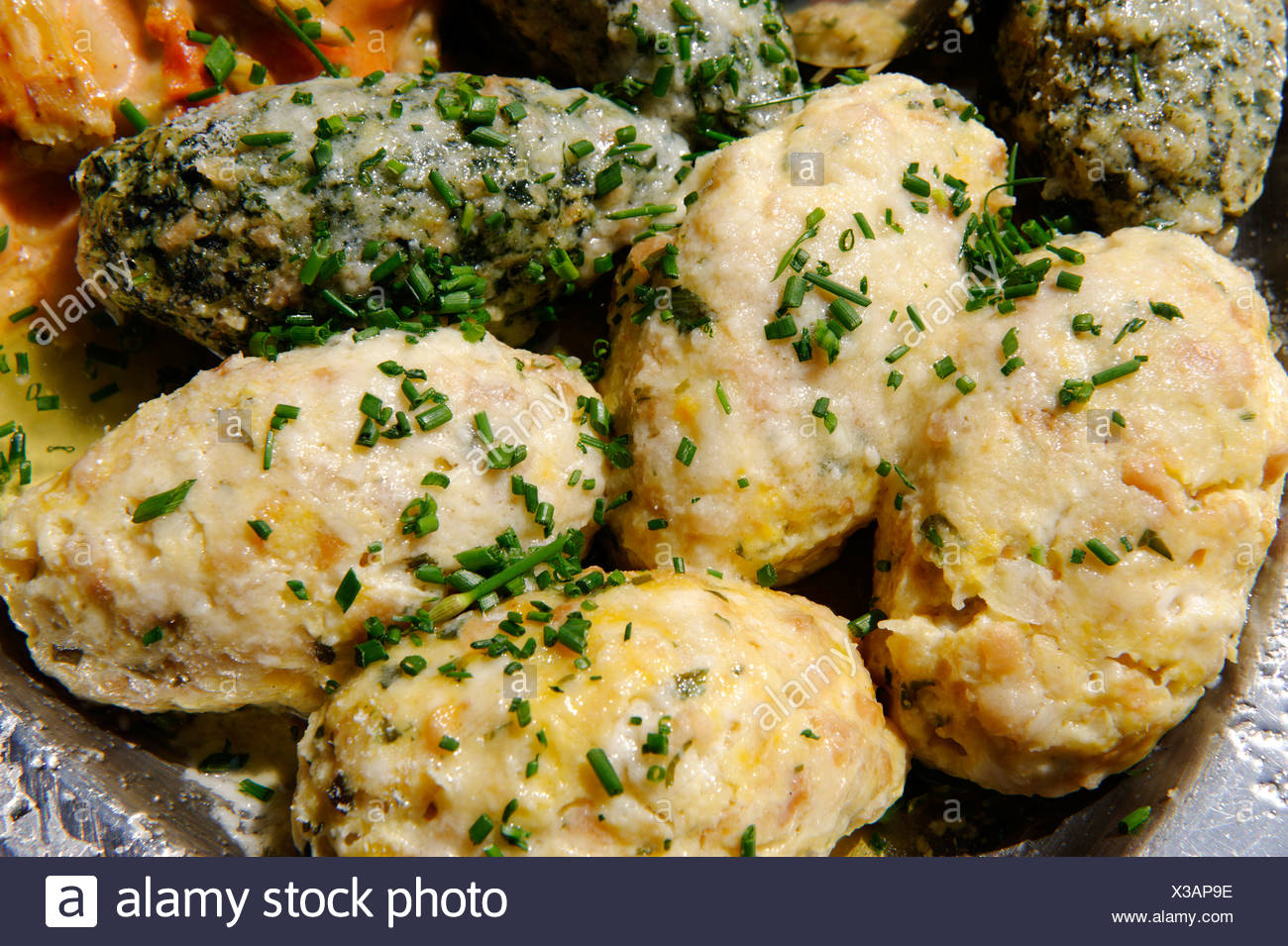 Bacon dumplings, cheese dumplings, spinach dumplings, South Tyrol, Italy, Europe - Stock Image
