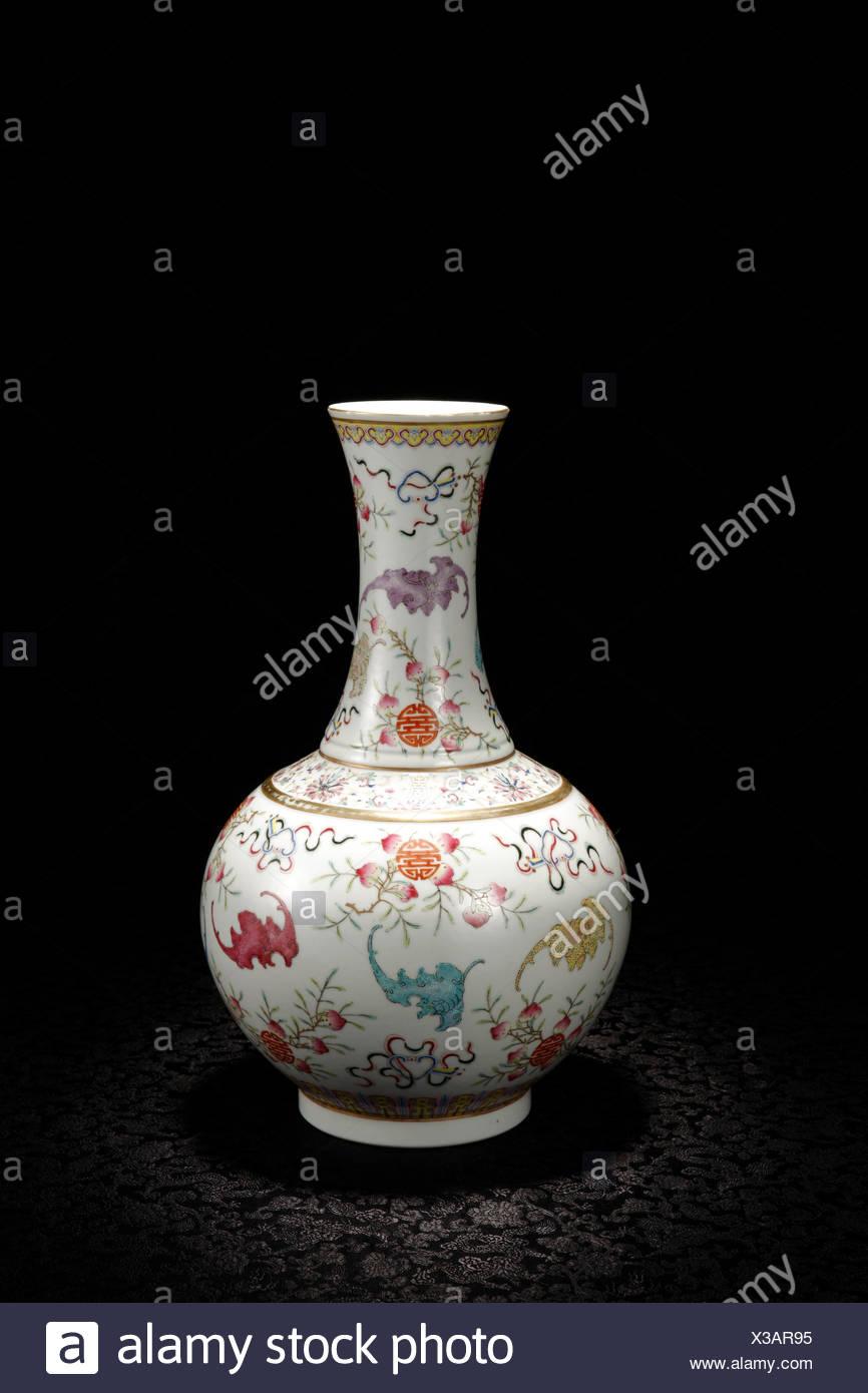 Pastel longevity pattern Vase - Stock Image