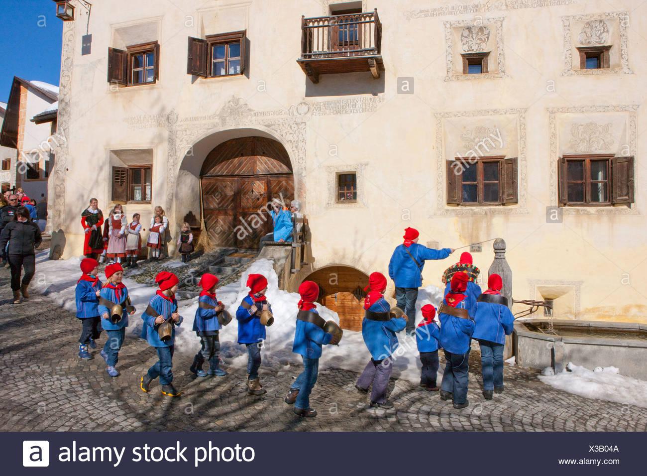 Chalandamarz, custom, Guarda, Unterengadin, tradition, folklore, national costumes, child, children, national costumes, national - Stock Image