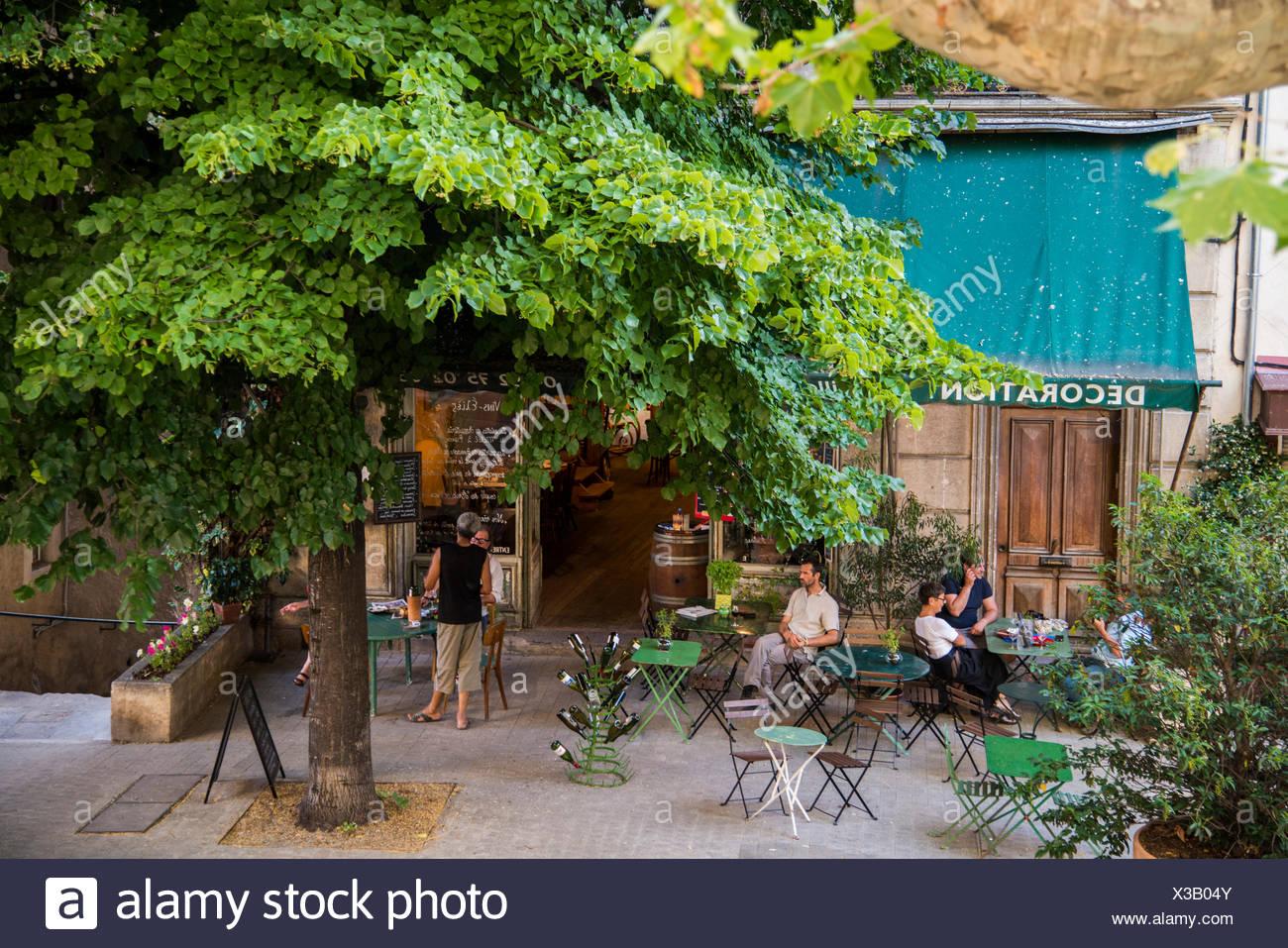 Bistro, restaurant, Forcalquier, Provence, Provence-Alpes-Cote, France, Europe, Forcalquier, Forcalquier, Département - Stock Image