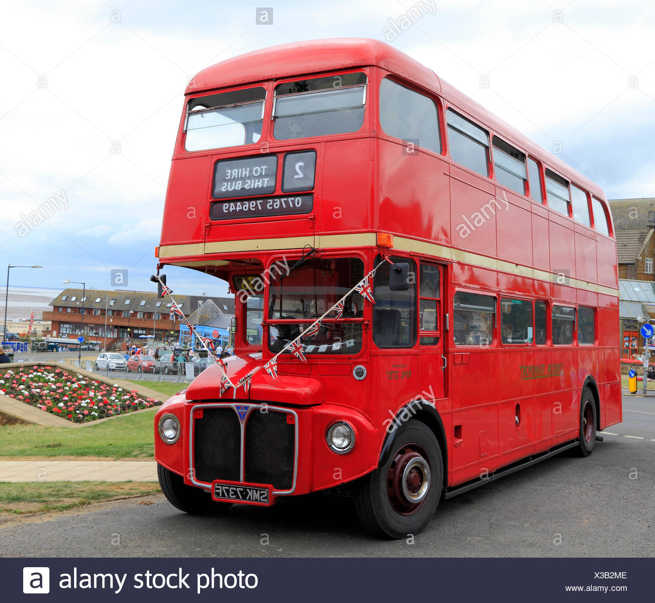 vintage, red, London Transport bus, Hunstanton, Norfolk, England, UK, tourist attraction - Stock Image