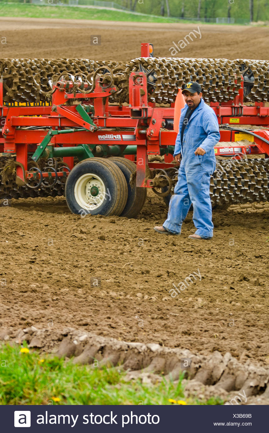 A field worker checks a mulcher to make sure it's prepared properly to be moved to another field / Burlington, Washington, USA. - Stock Image