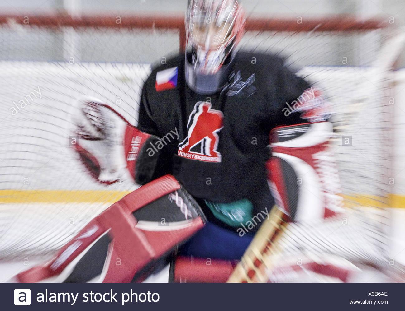Eishockey, Torhueter, Zoomeffekt (model-released) - Stock Image