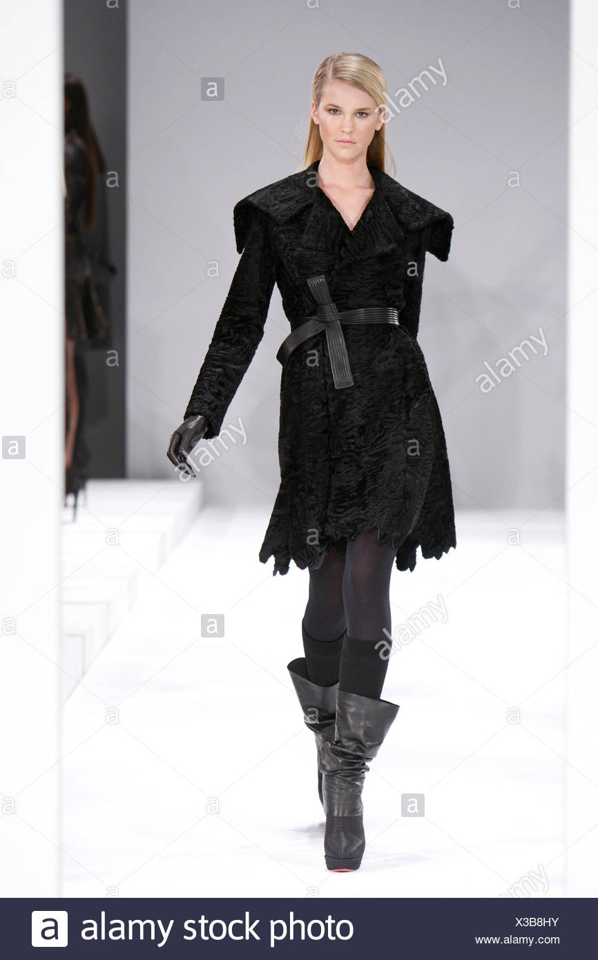 6cbad32c75b J Mendel New York Ready to Wear Autumn Winter Black karakul fur coat black  belt