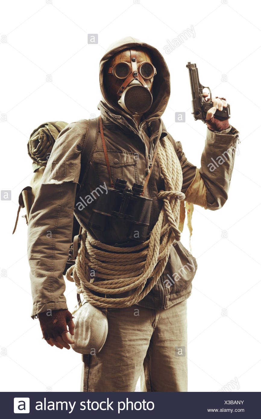Post apocalyptic survivor in gas mask Stock Photo