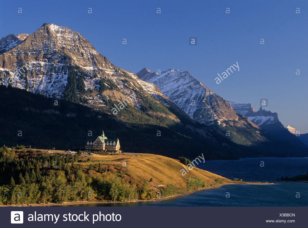 Sunrise, Prince of Wales Hotel, Waterton-Glacier International Peace Park, Alberta, Canada. Stock Photo