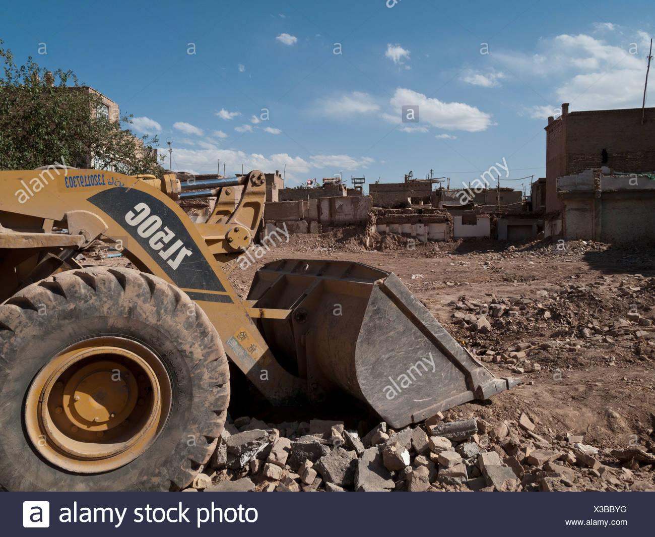 Kashgar, the capital of Uigur culture, demolished by Chinese bulldozers, Xinjiang, China, Asia - Stock Image