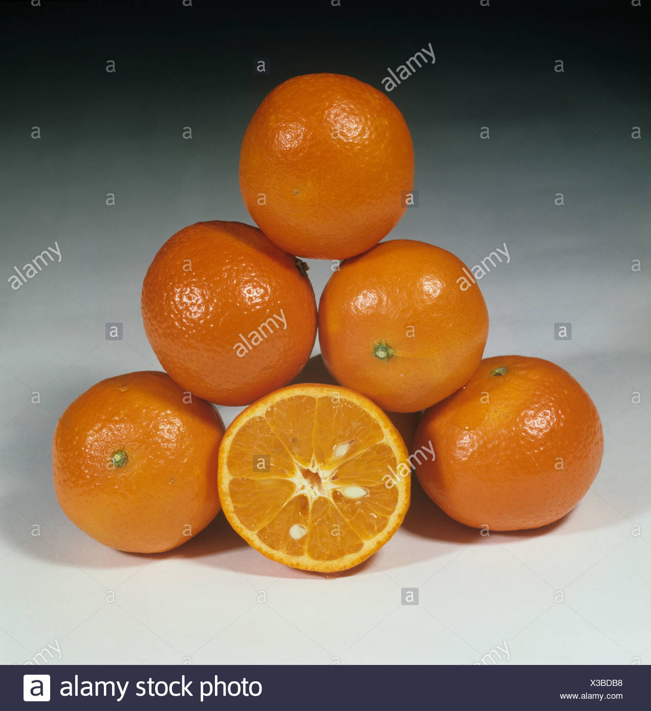 Whole and sectioned mandarin fruits variety Fremont - Stock Image