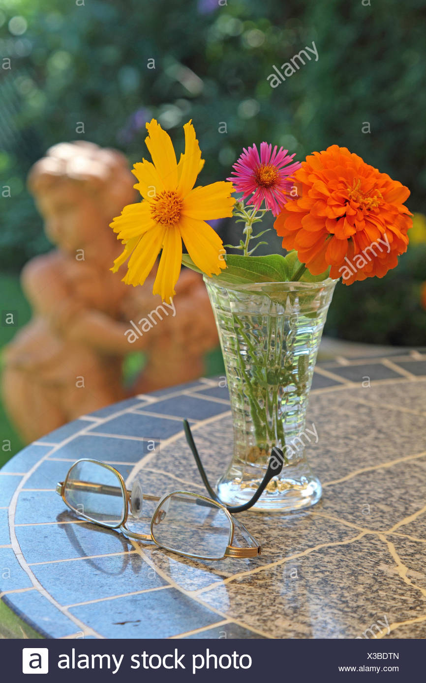 Vase with flowers and glasses in the garden - Stock Image