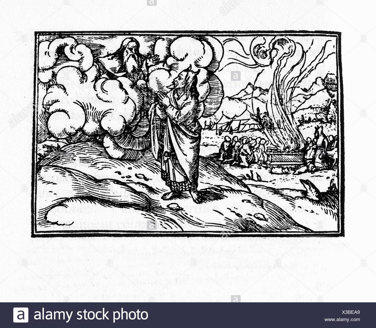 God talks to Moses. Engraving by Holbein. Lyon, 1547 - Stock Image