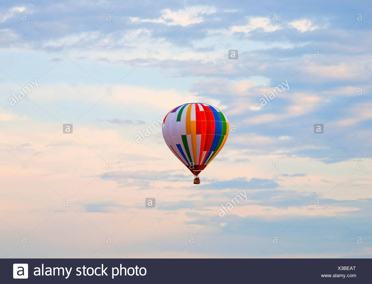 hot air balloon in flight; st. jean sur richelieu, quebec, canada - Stock Image
