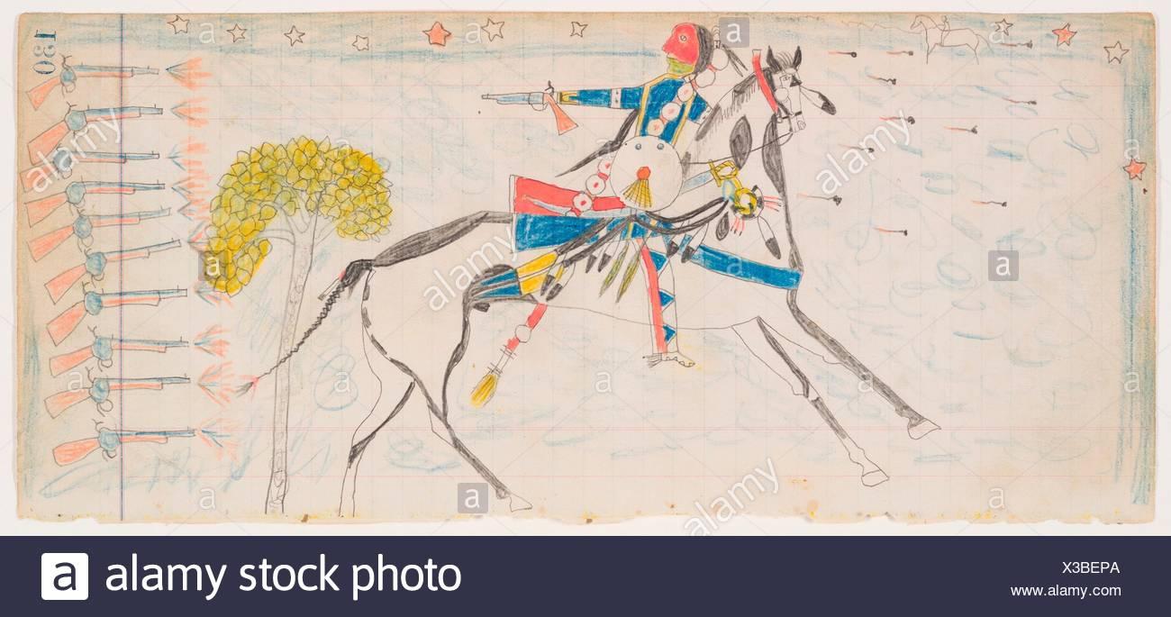 Night Skirmish (Henderson Ledger Artist A). Artist: Frank Henderson (Native American, Hinono'eiteen (Arapaho), 1862-1885); Date: ca. 1882; Geography: - Stock Image
