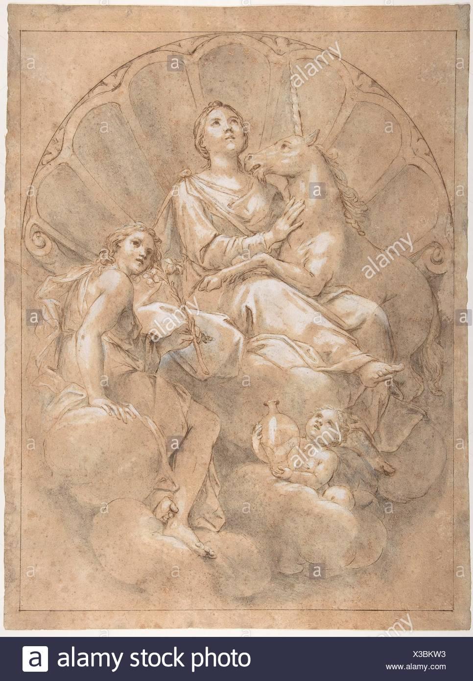 Allegorical Figure of Purity with a Unicorn. Artist: Marcantonio Franceschini (Italian, Bologna 1648-1729 Bologna); Date: 1688-89; Medium: Pen and - Stock Image