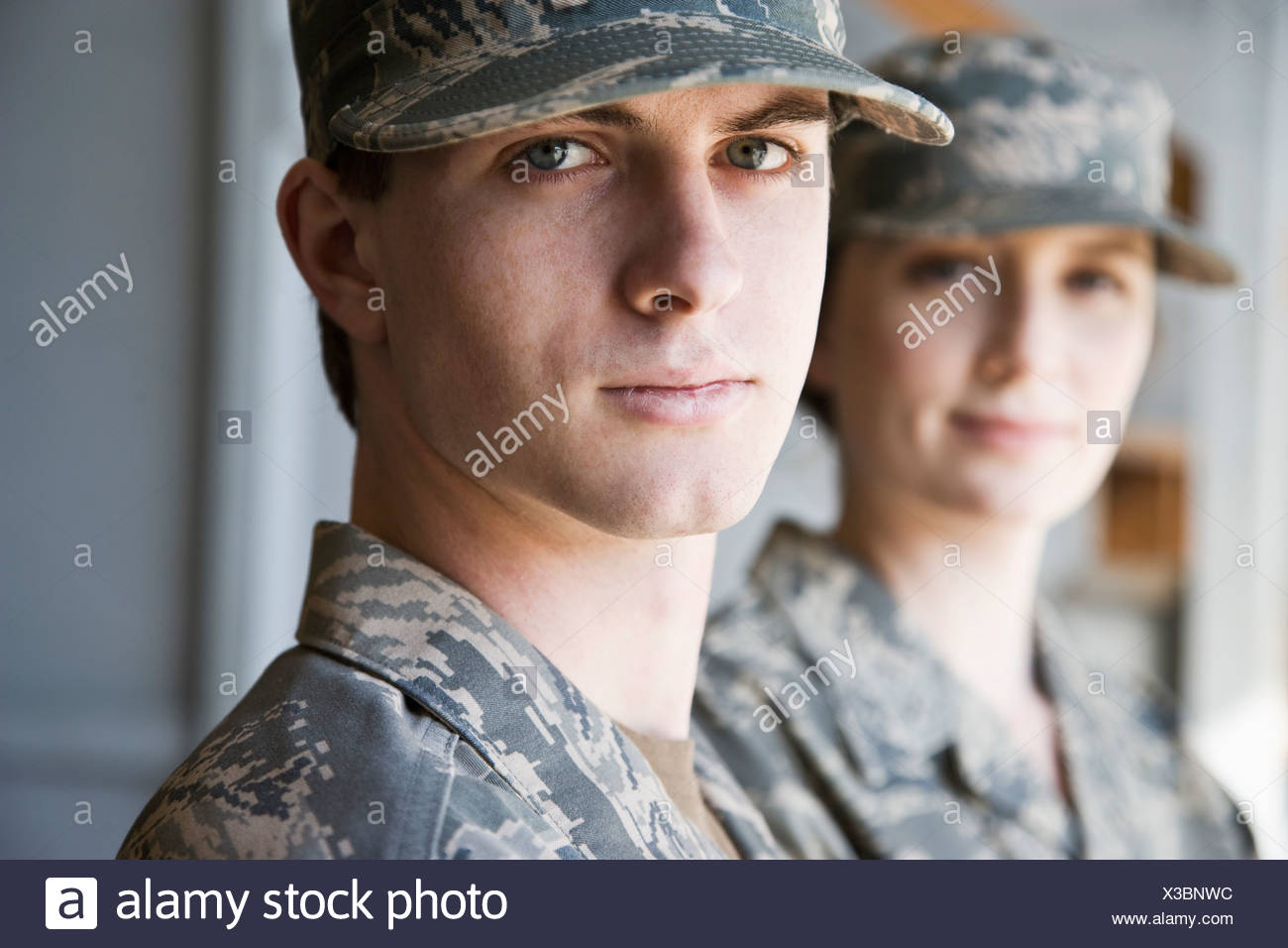 American soldier in army combat uniform - Stock Image