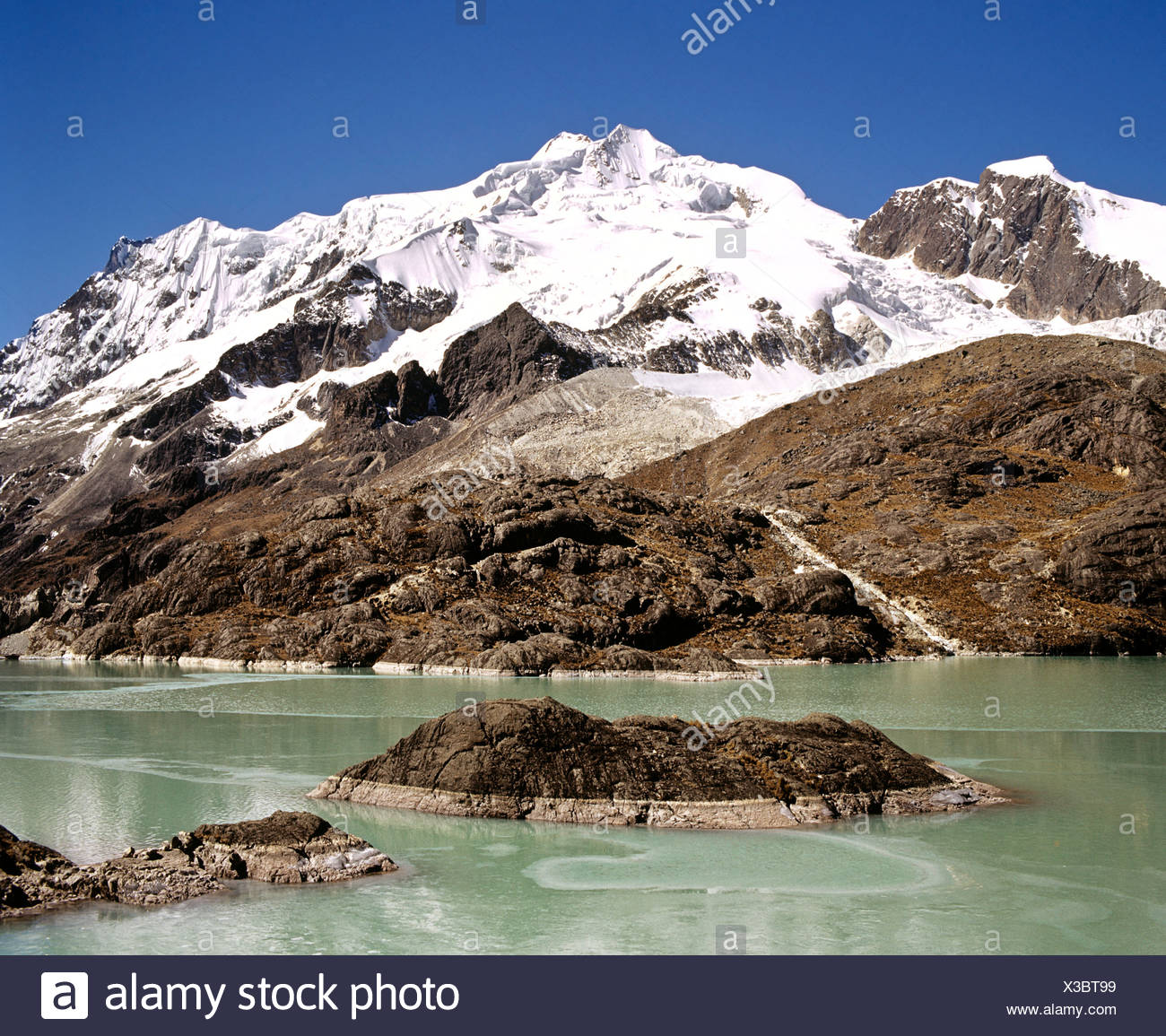 Mt. Huayna Potosi viewed from the reservoir at Zongo Pass, Cordillera Real, La Paz, the Andes, Bolivia - Stock Image