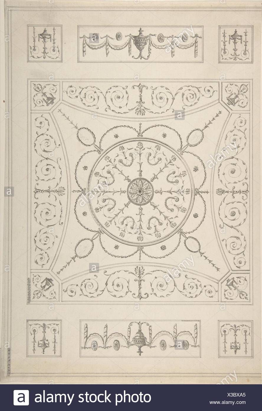 Design for an Oblong Ceiling with an Oval Centre. Artist: Attributed to James Wyatt (British, Weeford, Stafforshire 1746-1813 near Marlborough, - Stock Image