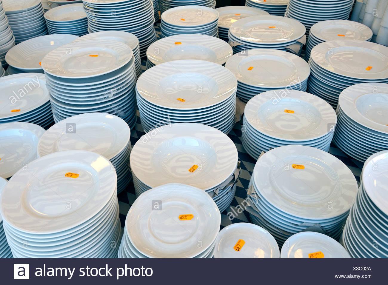 Stacks of white plates, Auer Dult market, Munich, Bavaria, Germany, Europe - Stock Image