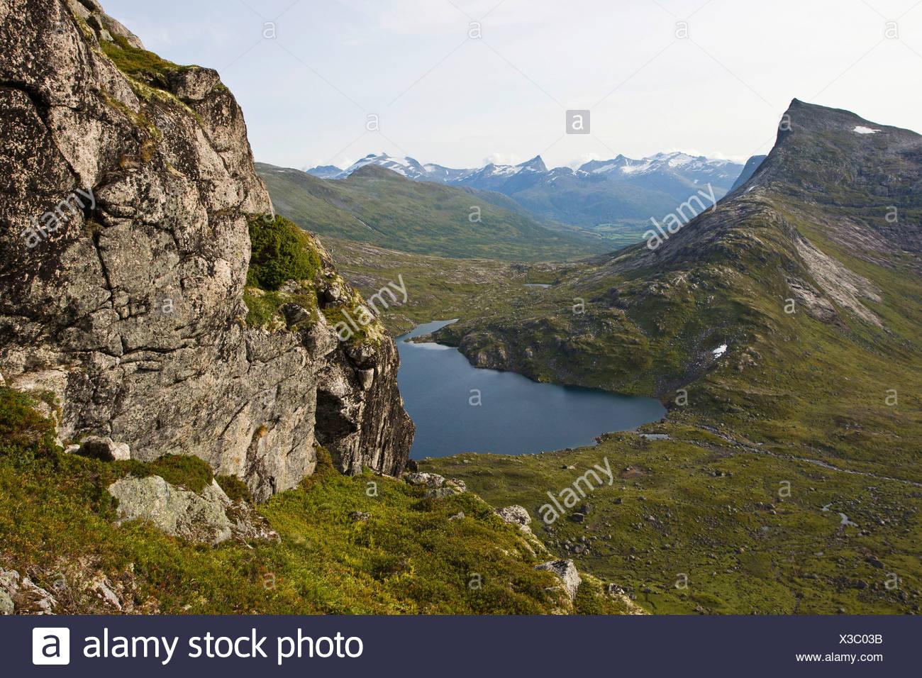 Pointy mountains, mountain lake, rocks, view, Norway, Scandinavia, Europe - Stock Image
