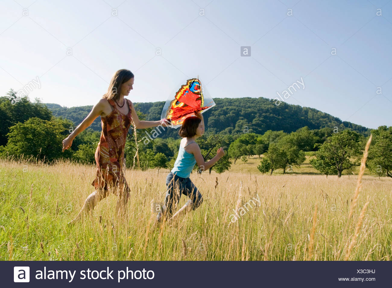 Mother and child with a kite in a summer meadow in the Black Forest, Baden-Wuerttemberg, Germany, Europe Stock Photo