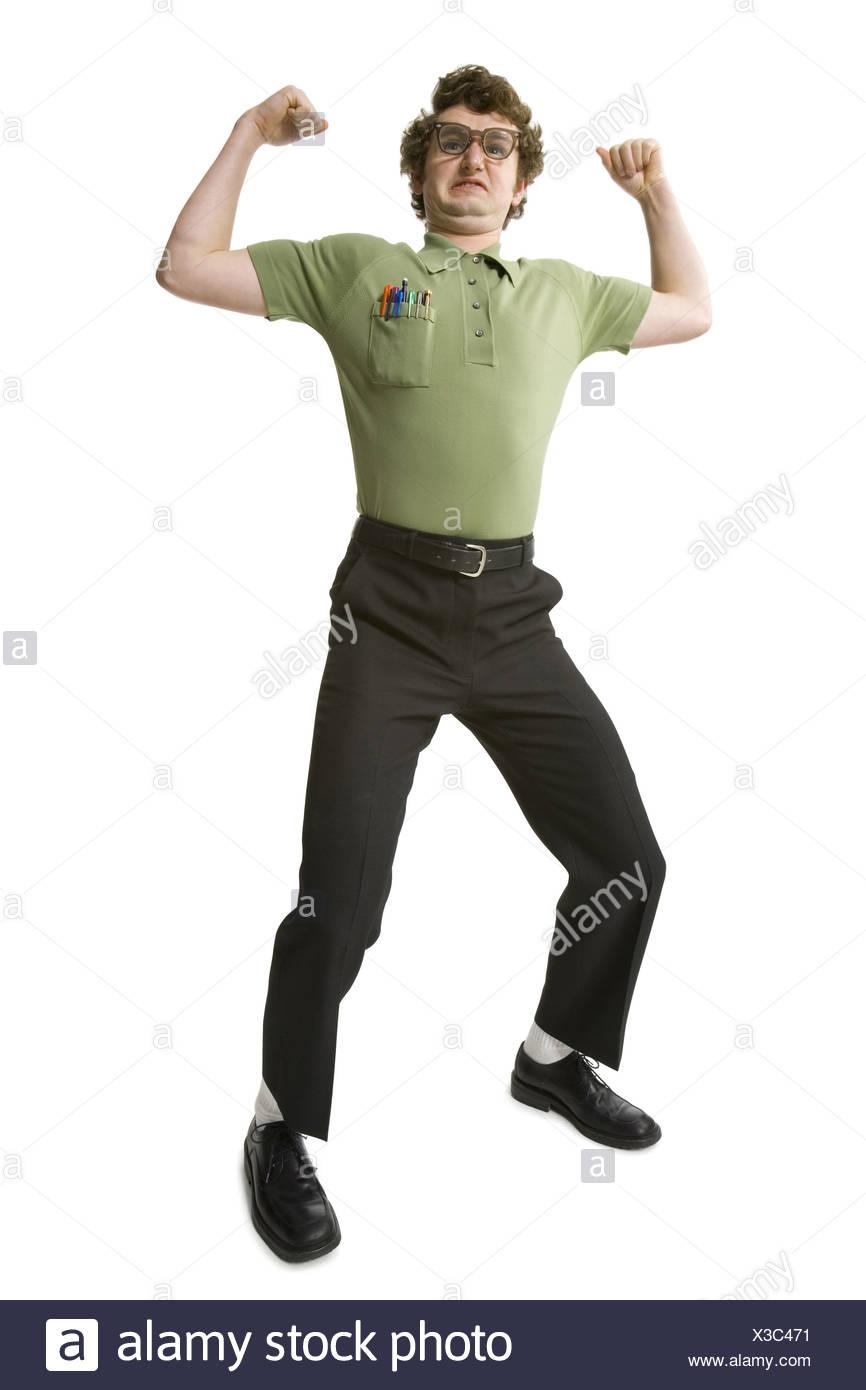 Man waving fists - Stock Image