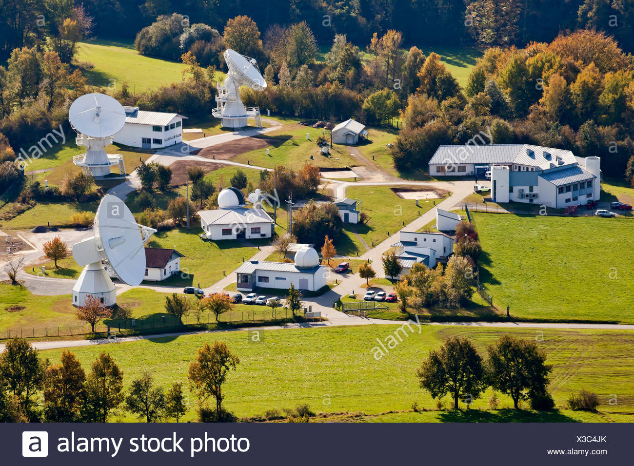 Aerial view of Fundamental Station Wettzell, geodetic observatory with radio telescopes, Wettzell near Bad Koetzting in the - Stock Image