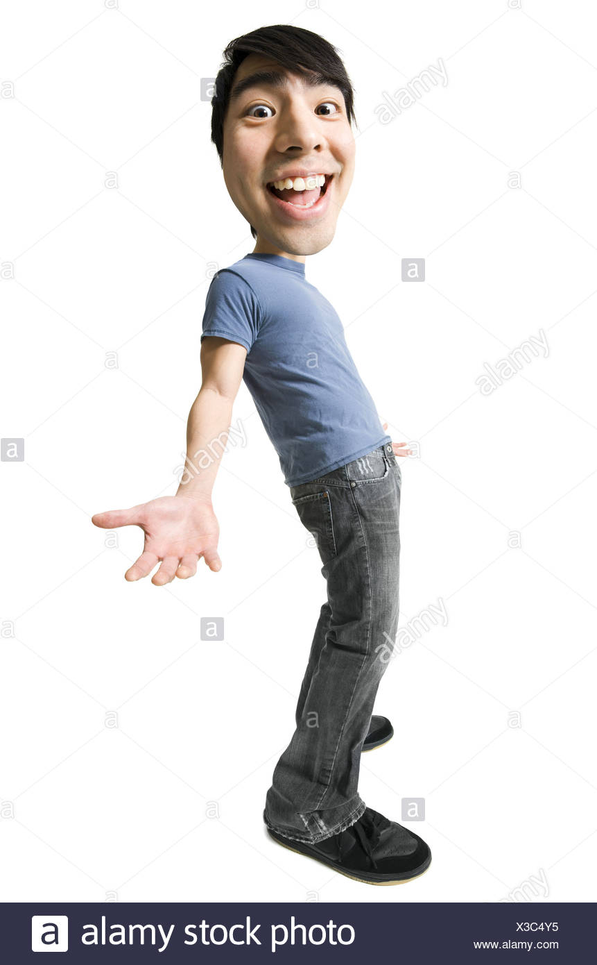 Caricature of a young man smiling - Stock Image