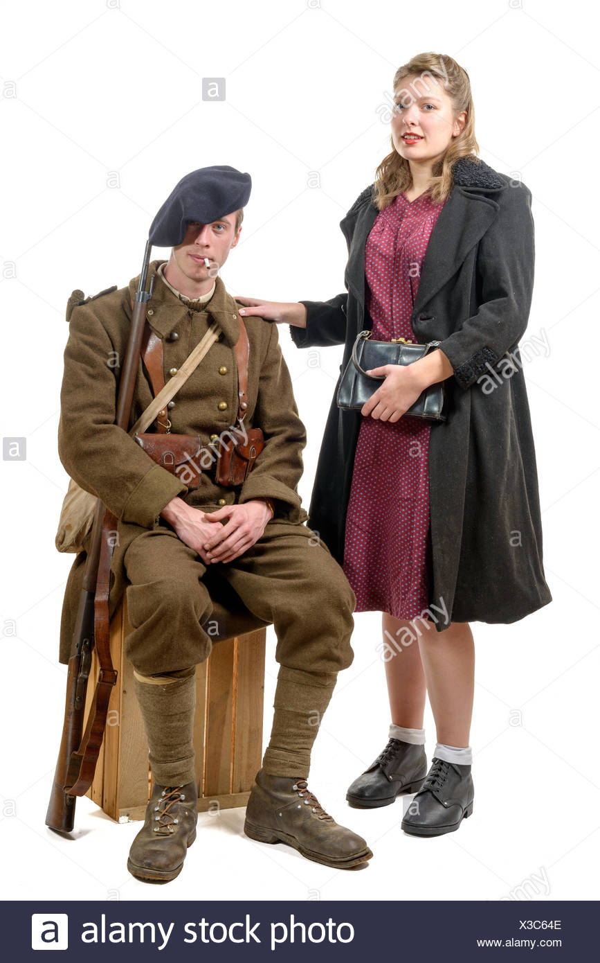 young French soldier and a young woman 1940's Stock Photo