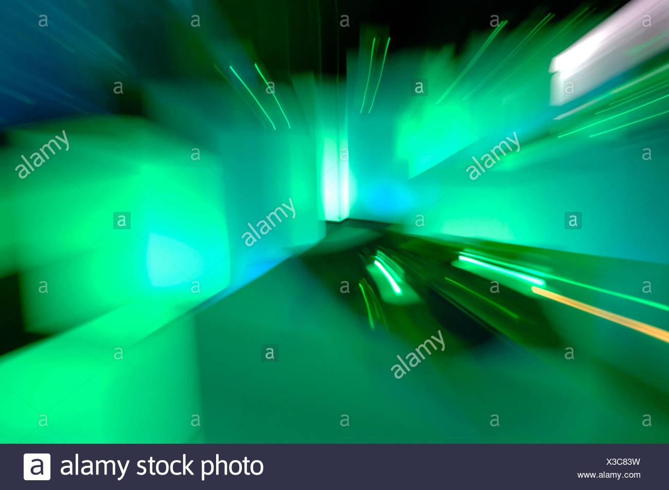 Light art, illuminated squares, zoom effect - Stock Image