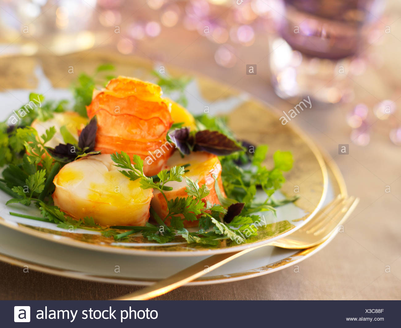 Spiny lobster tail with mango purée - Stock Image