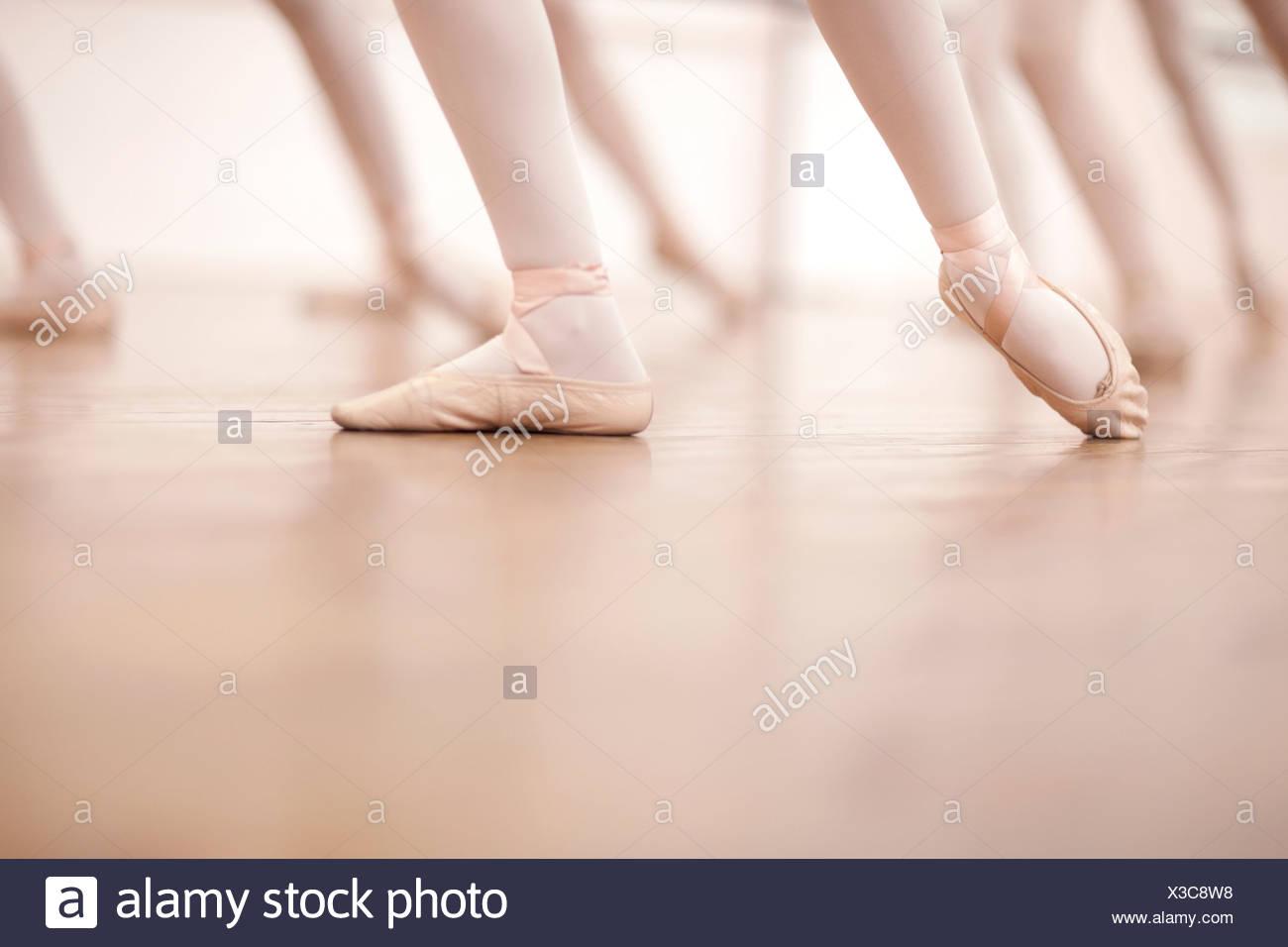 Detail of ballerinas legs in dance class - Stock Image