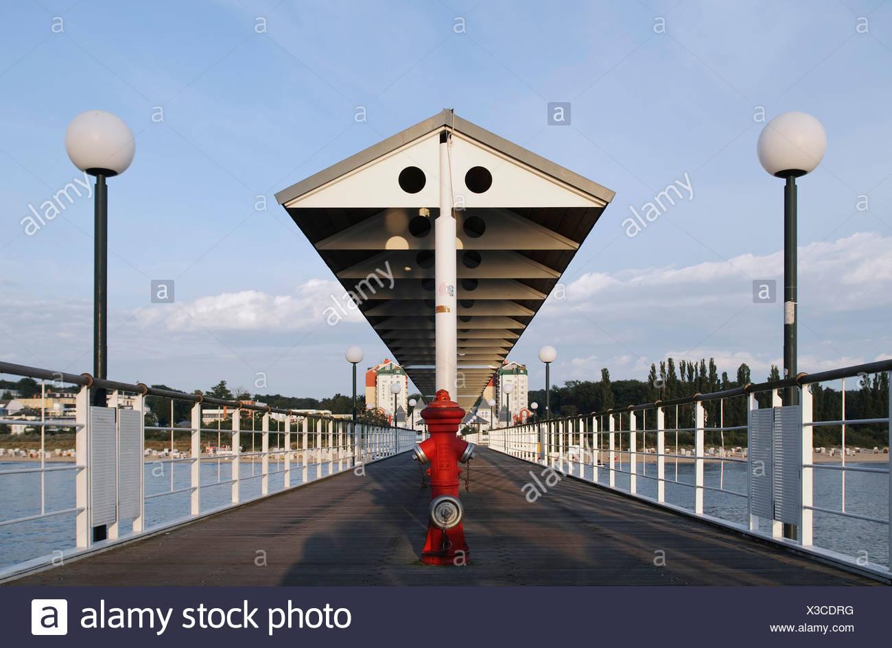 Pier in the Heringsdorf seaside resort, Usedom Island, Mecklenburg-Western Pomerania, Germany, Europe Stock Photo