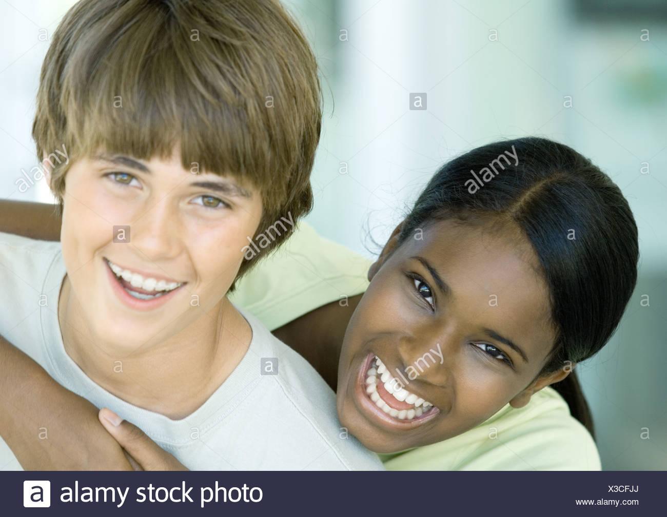 Preteen friends, portrait - Stock Image