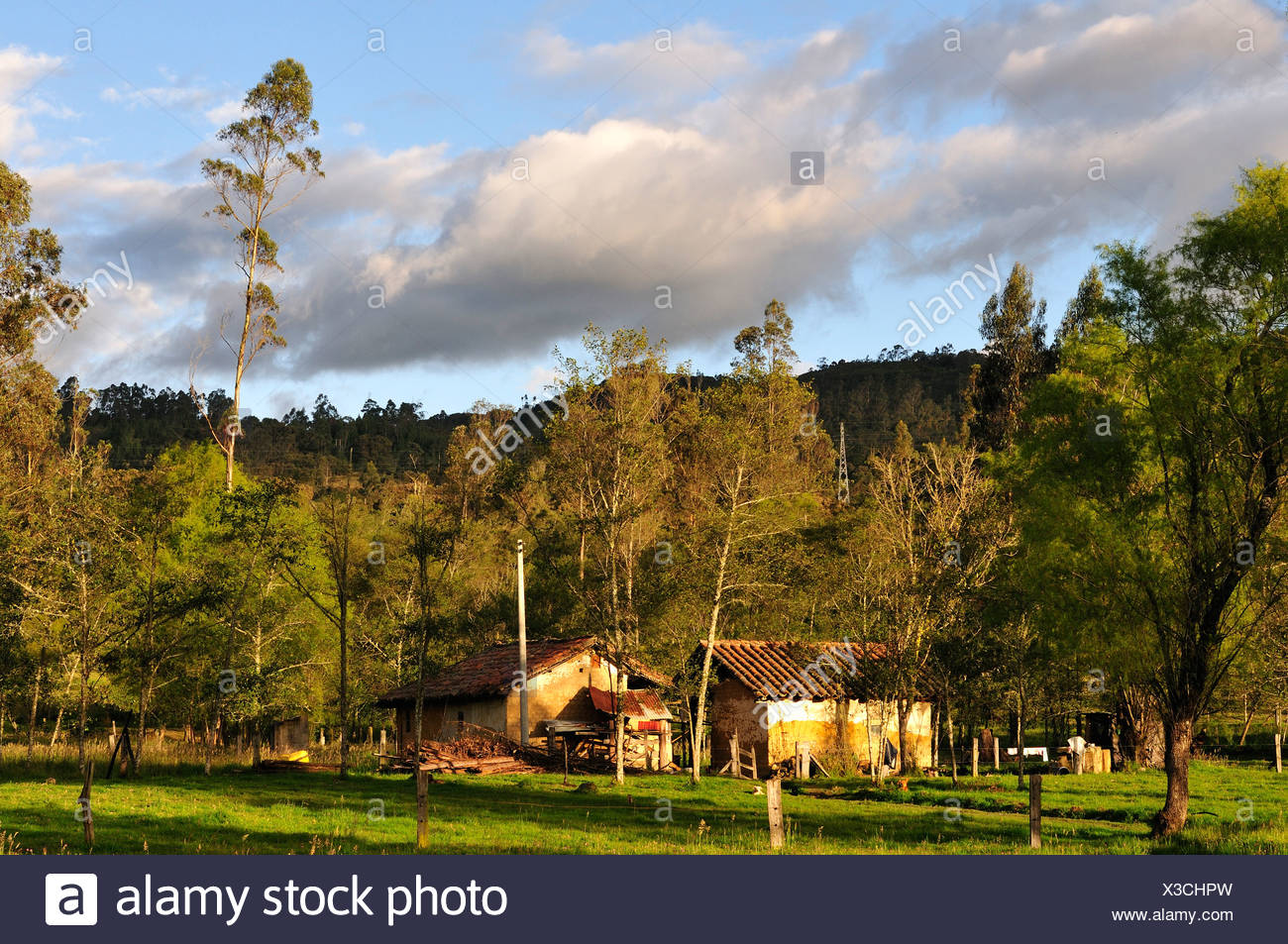 Andes, farmhouses, rural, Landscape, Zipaquira, Colombia, South America - Stock Image