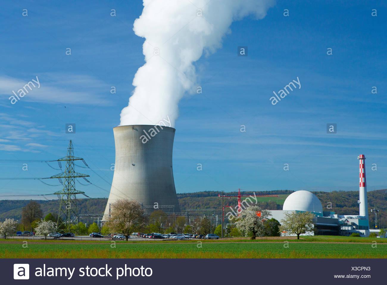 KKW, nuclear power plant, Leibstadt, Atomkraftwerk, Rhine, spring, canton, AG, Aargau, energy nuclear energy, Switzerland, Europ - Stock Image