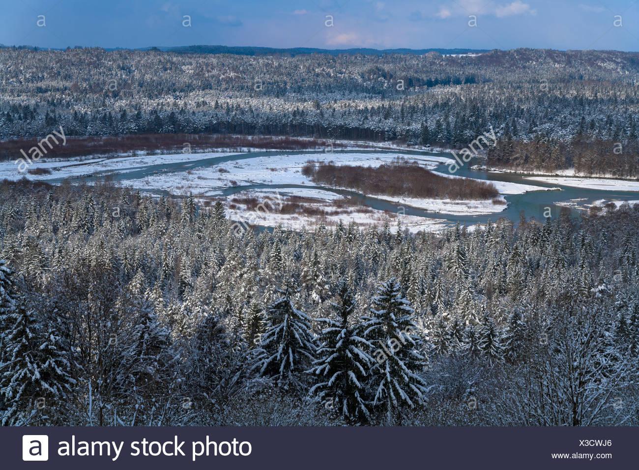 Germany, Upper Bavaria, river Isar at Pupplinger Au, Isartal - Stock Image