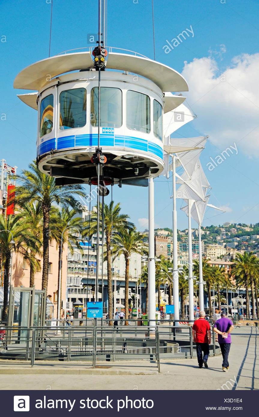 Bigo panoramic lift by Architect Renzo Piano at the Porto Antico, the Old Port of Genoa, Liguria, Italy, Europe - Stock Image