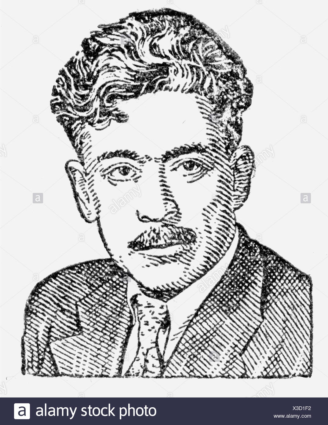 Wurgun, Samed, 1906 - 1956, Azerbaijani author / writer, portrait, anonymous drawing from a Soviet encyclopaedia, 20th century, Additional-Rights-Clearances-NA - Stock Image