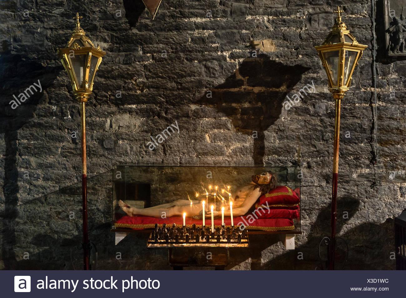 Interior devotion to Jesus, San Lorenzo church, Porto Venere, Italy - Stock Image
