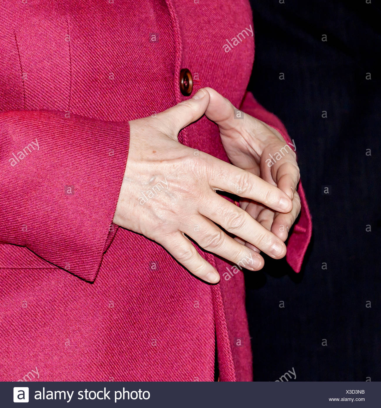 Typical hand position of Angela Merkel, Chancellor of Germany, Germany - Stock Image