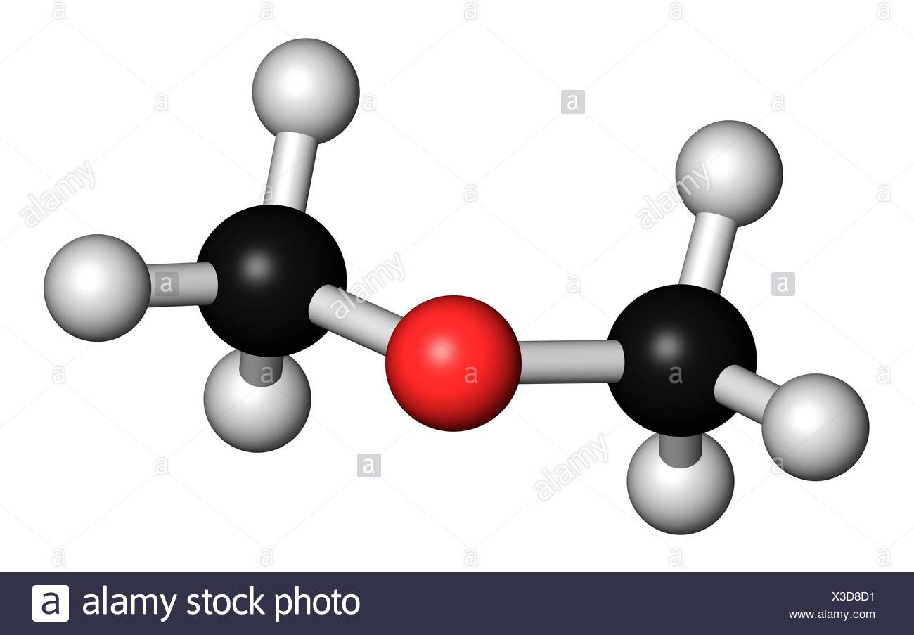 Dimethyl ether (methoxymethane, DME), molecular model. Atoms are represented as spheres with conventional colour coding: hydrogen (white), carbon (black), oxygen (red). Illustration. - Stock Image