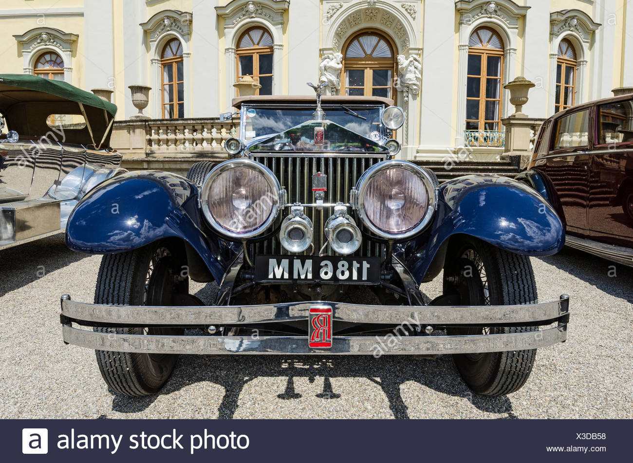 Front view of a Rolls-Royce classic car, Classics meets Barock classic car meeting, Ludwigsburg Palace, administrative region of - Stock Image